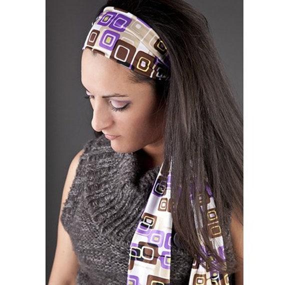 Headband - Tie Back, Stretchy, Purple Black 60s MOD Print Head Scarf