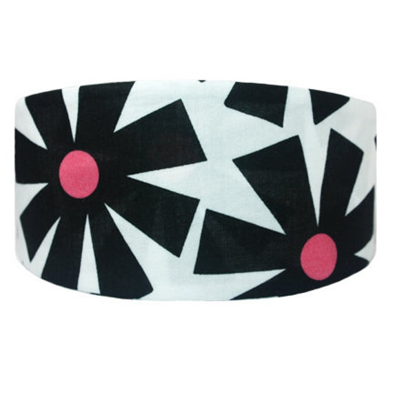 Black White Red Retro Floral Wide Headband