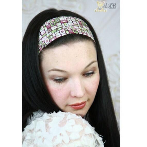 Fabric Headbands, Womens, Purple & Green MOD Squares Print