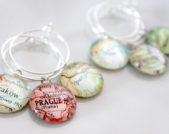 Custom Map Wine Charms (10) - Vintage, Travel, Map, Atlas, Glass