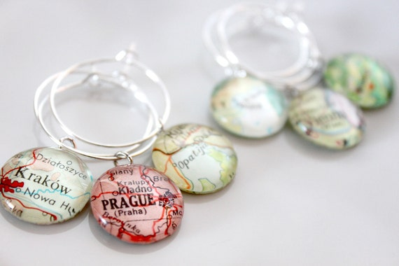 Custom Map Wine Charms (8) - Vintage, Travel, Map, Atlas, Glass