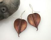 Bodhi Earrings, Copper, Medium, Sterling earwires , Pipal leaf, Buddha leaf. 132mc