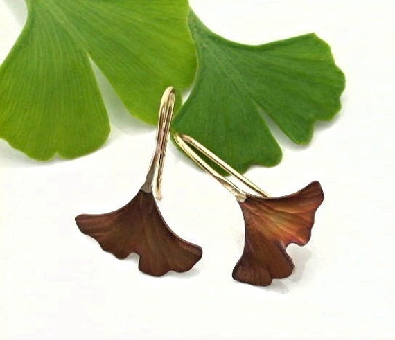 Ginkgo Leaf Earrings, Copper, brown patina, Tiny. 122mc