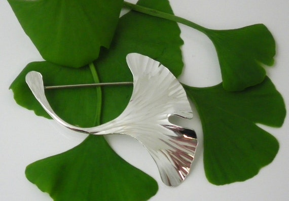 Ginkgo Leaf Pin, Large Sterling Silver, 251ss