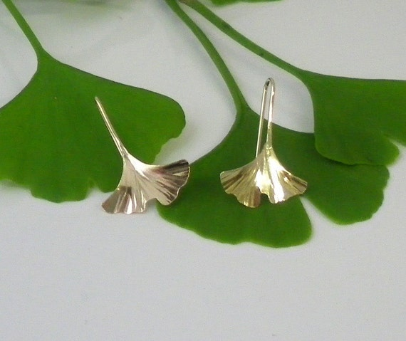Ginkgo Leaf Earrings, Gold Filled, Tiny, 122gf