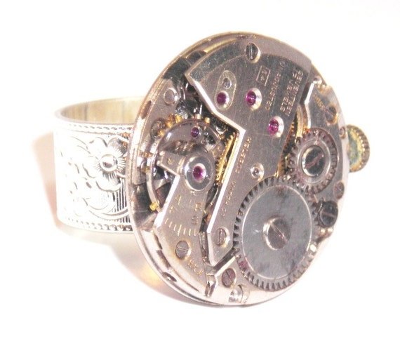 Helbros One Inch Watch Guts Ring - Big Ass Steampunk Ring - SS33