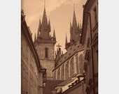 Tyn Church View: sepia fine art photograph print of architecture in Old Town Prague, Czech Republic (buildings, sidewalk, cathedral)