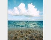 Sand, Sea, Sky: fine art photography print of Bermuda beach seascape (turquoise Atlantic ocean, blue sky with white clouds, brown sand)