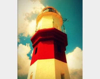 St. David's Lighthouse, Bermuda Lighthouse Photo, Lighthouse Wall Art, Bermuda Wall Art, Red White Aqua Art, Nautical Photo, Surreal Art