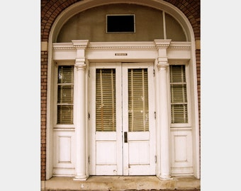 Deep South Architecture Photo, Old Door Photo, Entrance Wall Art, Beige Wall Art, Windows Photo, USM Campus Photo, Vintage Style Photo