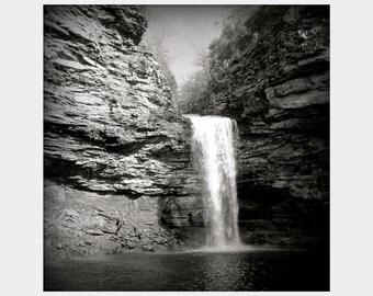 Cedar Falls Waterfall Photograph, Black and White Art, Petit Jean Park Art, Arkansas Landscape Photograph, Dramatic Photo, Black Wall Art