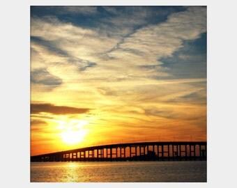 Gulf Coast Sunset Photo, Ocean Springs Sunset Photo, Biloxi Bridge Photo, Bold Wall Art, Coastal Photograph, Mississippi Gulf Coast Wall Art