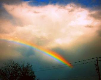 Dark Rainbow Photo, Stormy Sky Art, Rainbow Wall Art, Colorful Sky Photo, Moody Sky Wall Art, Dramatic Wall Art, Dark Blue Sky Art