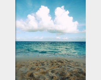 Tropical Seascape, Bermuda Beach Photo, Turquoise Water Art, Beach House Decor, Atlantic Ocean Photo, Aqua Tan Art, Turquoise Brown Art