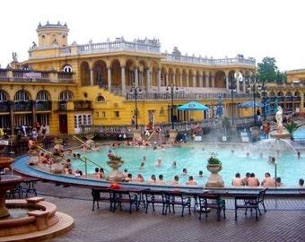 Budapest Baths Photo, Széchenyi Baths, Hungary Architecture Photo, Budapest Wall Art, Turquoise Yellow Art, Swimming Pool Photo, Hungary Art