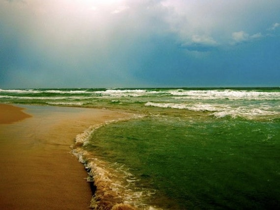 Ocean View: fine art photograph print of Gulf of Mexico seascape with green water, blue sky, sand, and sun light