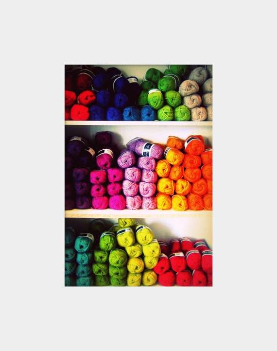 Yarn Rainbow: still life fine art photograph print of shelves with bright and colorful bolts of yarn
