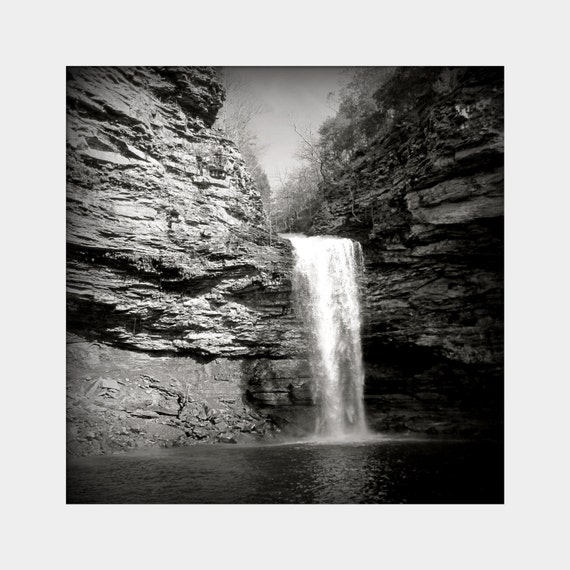 Cedar Falls: a black and white fine art photograph print of natural waterfall at Petit Jean State Park in Morrilton, Arkansas