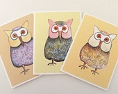 Set of 3 Note Cards - Assorted Owl Designs