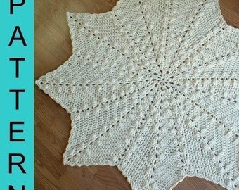 Instant Download: Crochet Pattern - 9-pointed Popcorn Round Ripple Afghan