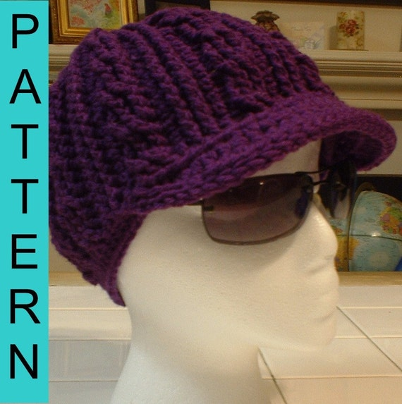 Free Crochet Pattern Beanie With Brim : Crochet Pattern Adult Cable Motif Beanie with Brim by ...