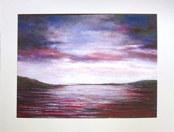 Stormy sky.. Original seascape painting ..Stormy sky..  purple water serene red