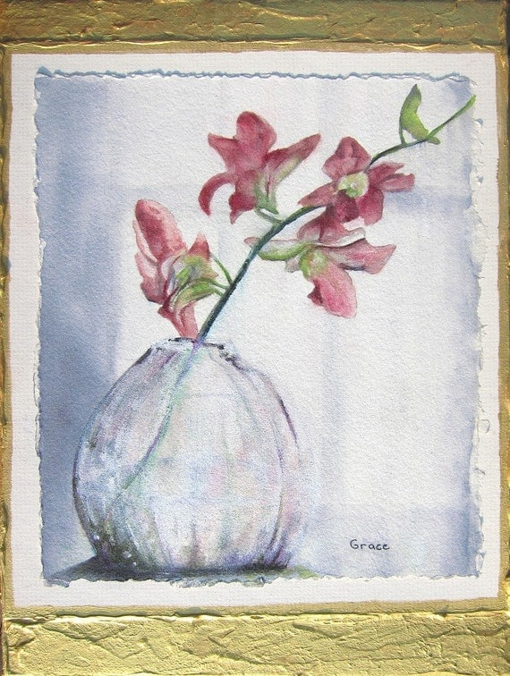 Original Watercolor mixed media painting ..Orchids in the Window 9x12  on gallery wrap canvas.