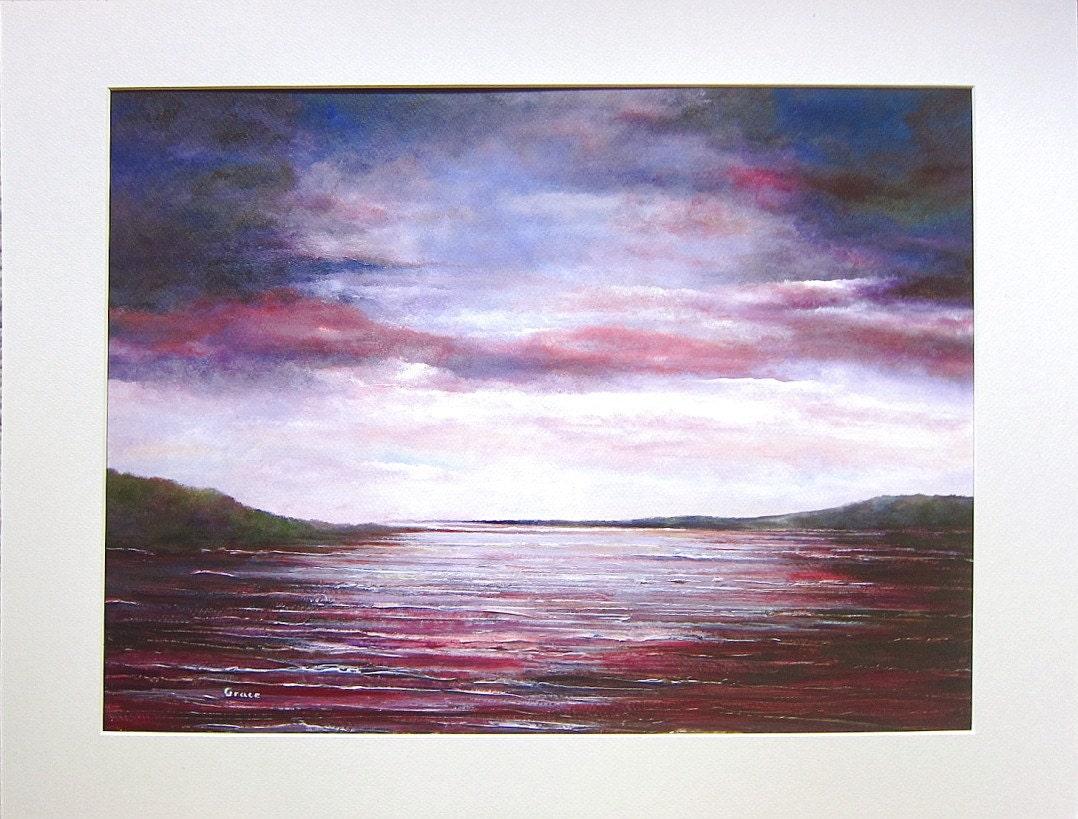 Stormy Sky Original Seascape Painting Stormy Sky Purple