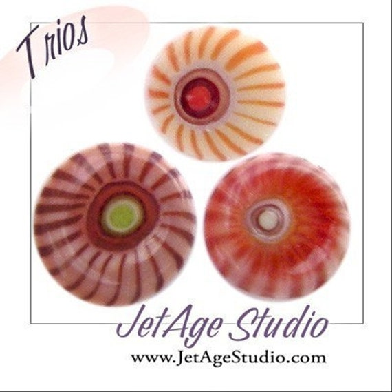 Persimmon Trio Blend 104 coe handpulled custom murrini from JetAgeStudio