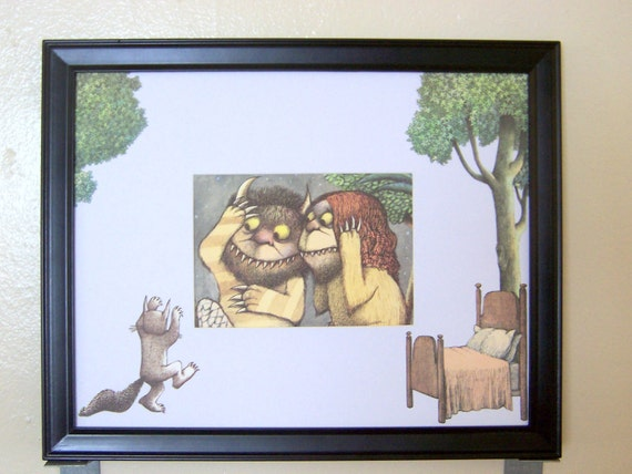 "Where The Wild Things Are - ""Frightening"" -  15x12 framed Maurice Sendak storybook adaptation collage wall art"