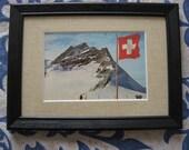 Framed Vintage Postcard from Switzerland