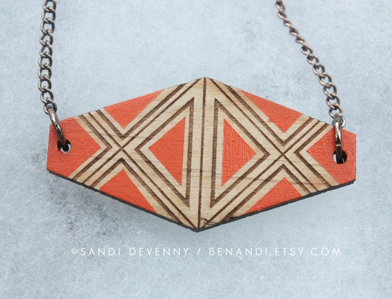 Wooden Painted Necklace - Geometric Painted Pendant : Orange