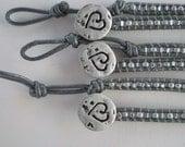 Benefit for Julie-Custom Grey leather wrap-Brain cancer awareness