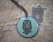 Hoot Owl enamel pendant necklace