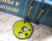 Enameled Reversible Pierced Copper Pendant