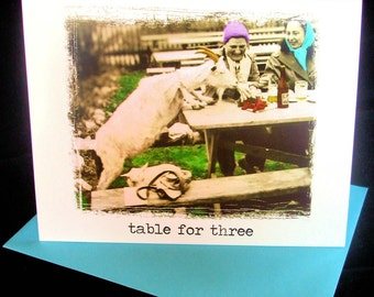 Goat Note Cards - Goats at a Picnic Table for Three - Set of 5 Blank Funny Greeting Cards
