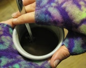 Purple Batik Polar Fleece Fingerless Gloves- Reversible to Solid Purple