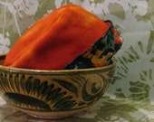 RESERVED FOR MMullane -Upcycled Vintage Velvet- Orange Polar Fleece Hat