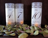 Reserved for mrsrose- Damask Illuminated Table Number Wrap Lanterns-set of 25