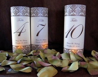 Custom Damask Illuminated Table Numbers Wrap Lanterns-just add candles-set of 10