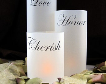Tiered Illuminated Wrap Lanterns for candles- Love Honor Cherish-qty 12