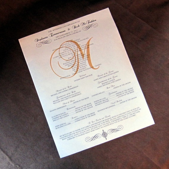 scroll wedding programs full size by scrappinginnovations on etsy