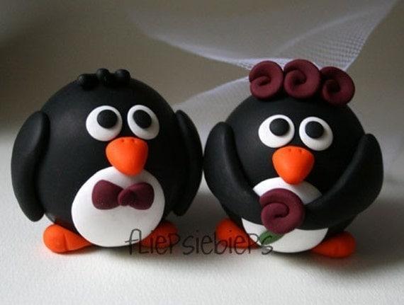 Custom Round Penguin Wedding Cake Topper