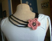 Black Tri Strand Crocheted Necklace with Soft Mauve Flower Blossom