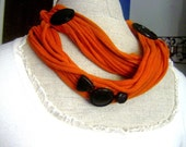Burnt Orange Fabric Necklace with Black Vintage Buttons Accent