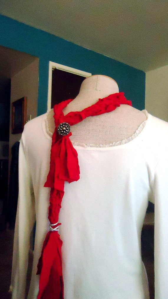 CLEARANCE Cherry Tomato Red Braided Tshirt Neckwrap