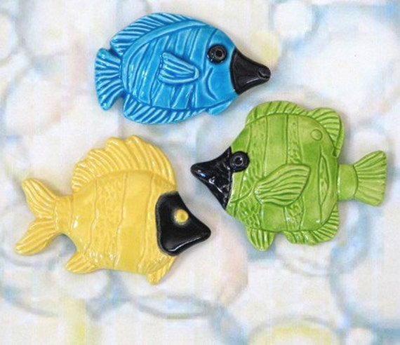 Reserved for Pam - Six Ceramic Fish Kiln Fired Mosaic Tiles