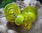 Lemonade Discs and Rounds - Handmade Lampwork  Bead Set