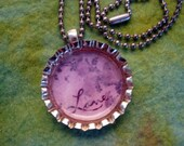 Time for Love Bottle Cap Handcrafted Bottle Cap Necklace