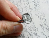 Wax Seal Style Sterling Silver Initial Ring - Made to Order